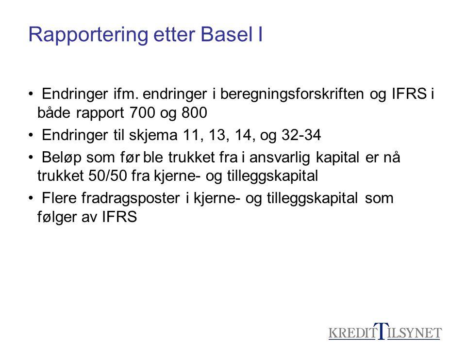 Rapportering etter Basel I • Endringer ifm. endringer i beregningsforskriften og IFRS i både rapport 700 og 800 • Endringer til skjema 11, 13, 14, og