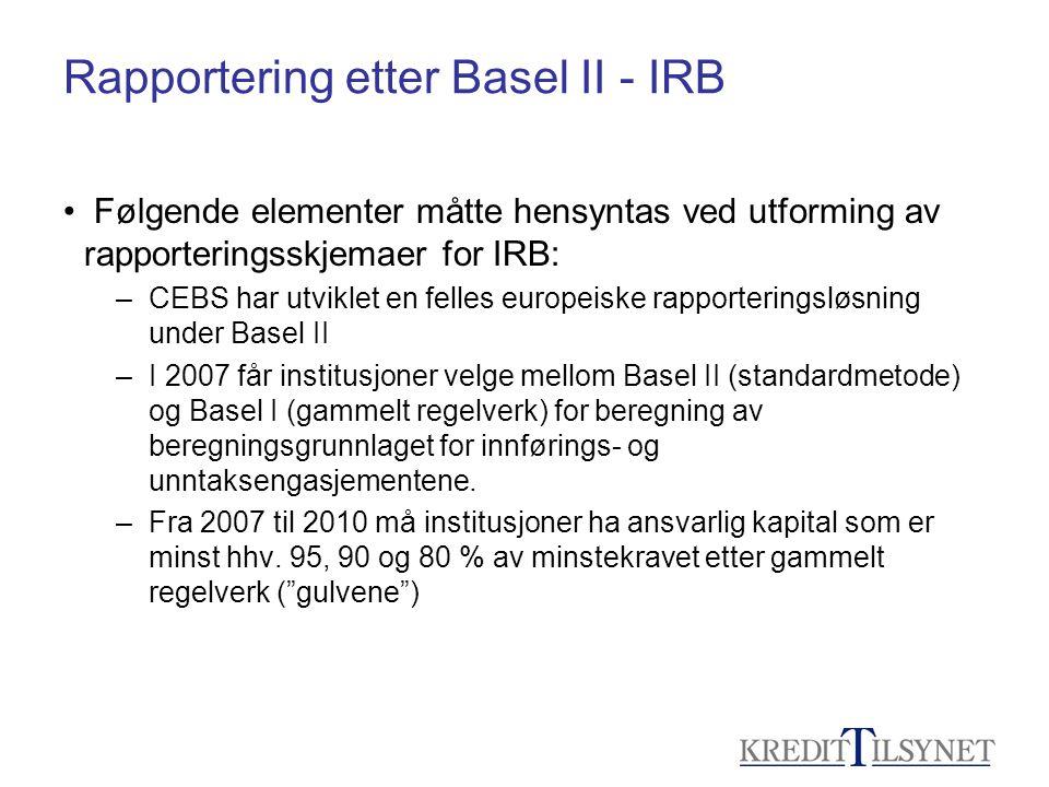 Rapportering etter Basel II - IRB • Følgende elementer måtte hensyntas ved utforming av rapporteringsskjemaer for IRB: –CEBS har utviklet en felles eu