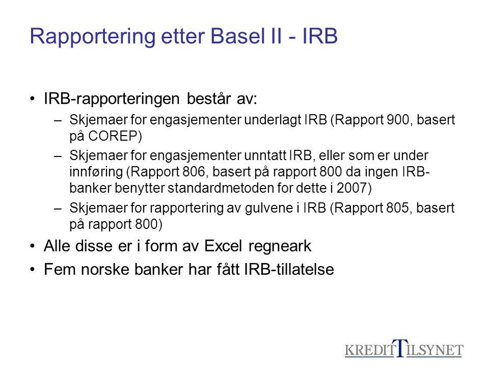 Rapportering etter Basel II - IRB • IRB-rapporteringen består av: –Skjemaer for engasjementer underlagt IRB (Rapport 900, basert på COREP) –Skjemaer f