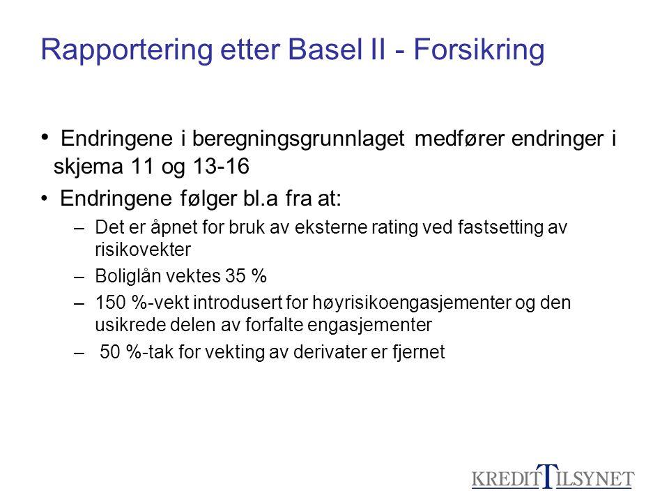 Rapportering etter Basel II - Forsikring • Endringene i beregningsgrunnlaget medfører endringer i skjema 11 og 13-16 • Endringene følger bl.a fra at:
