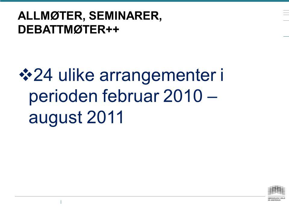 ALLMØTER, SEMINARER, DEBATTMØTER++  24 ulike arrangementer i perioden februar 2010 – august 2011