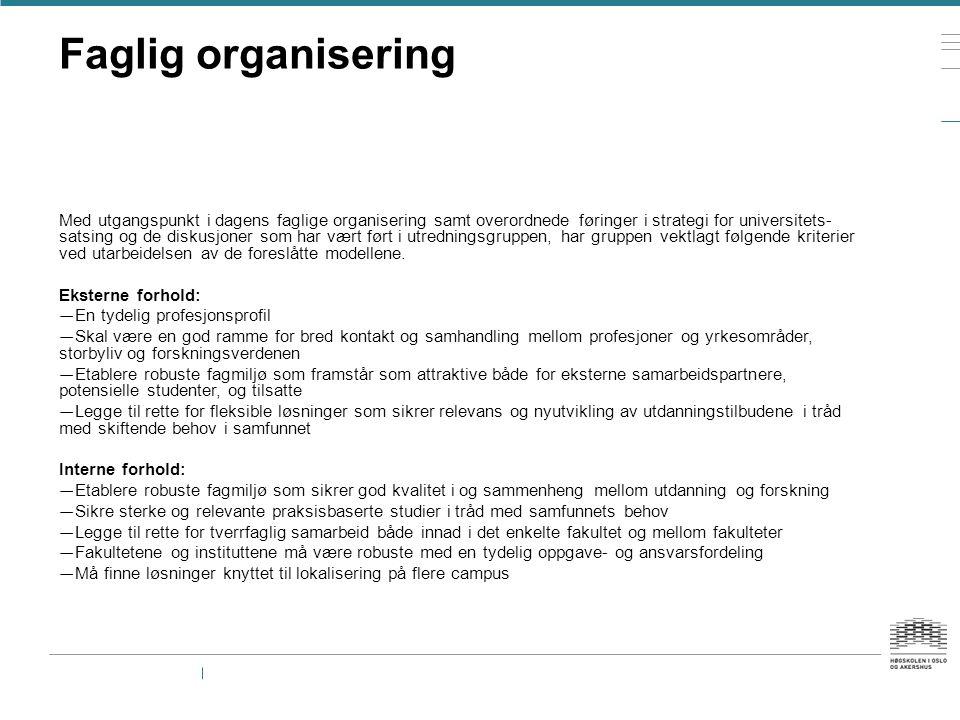 Faglig organisering Med utgangspunkt i dagens faglige organisering samt overordnede føringer i strategi for universitets satsing og de diskusjoner so