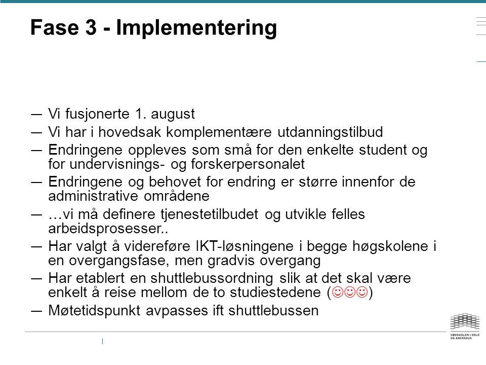 Fase 3 - Implementering — Vi fusjonerte 1. august — Vi har i hovedsak komplementære utdanningstilbud — Endringene oppleves som små for den enkelte stu