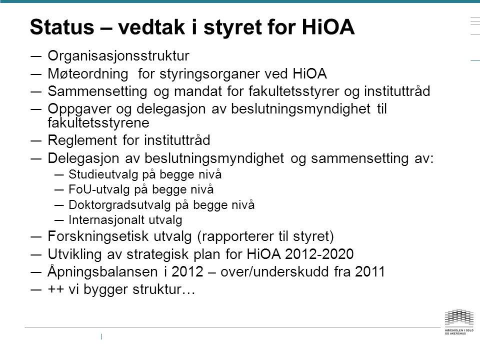 Status – vedtak i styret for HiOA — Organisasjonsstruktur — Møteordning for styringsorganer ved HiOA — Sammensetting og mandat for fakultetsstyrer og