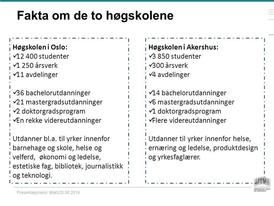 Fakta om de to høgskolene Presentasjonens tittel 20.06.2014 Høgskolen i Oslo:  12 400 studenter  1 250 årsverk  11 avdelinger  36 bachelorutdannin