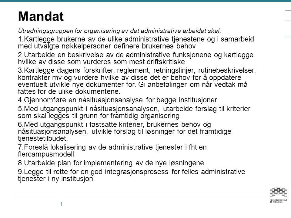 Mandat Utredningsgruppen for organisering av det administrative arbeidet skal: 1.Kartlegge brukerne av de ulike administrative tjenestene og i samarbe