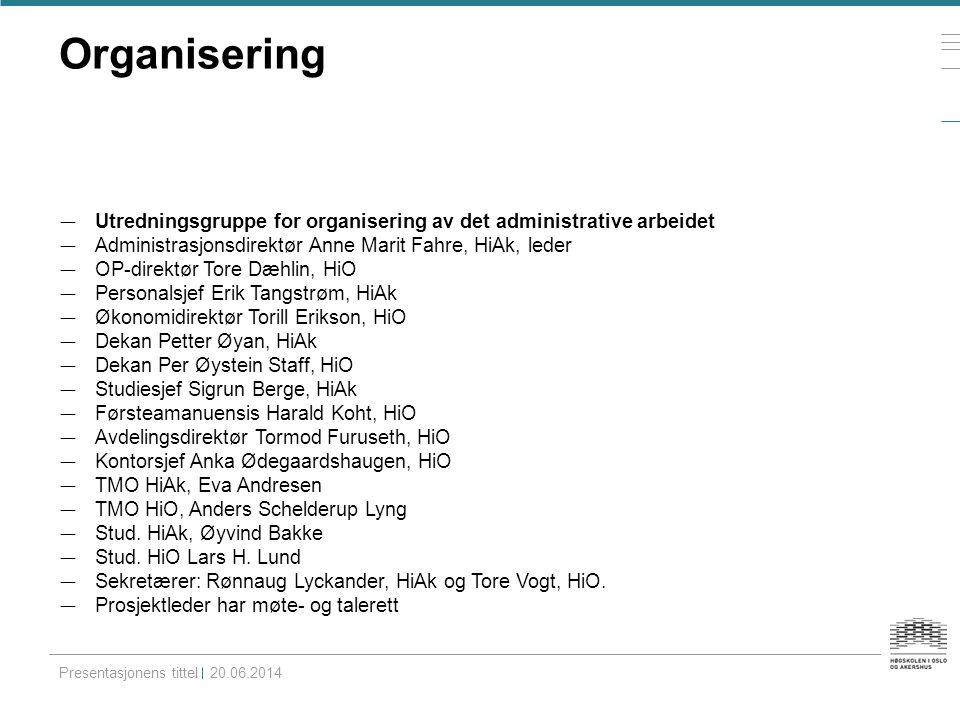 Organisering — Utredningsgruppe for organisering av det administrative arbeidet — Administrasjonsdirektør Anne Marit Fahre, HiAk, leder — OP-direktør