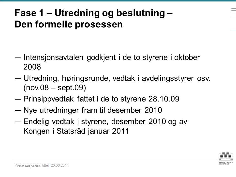 Fase 1 – Utredning og beslutning – Den formelle prosessen — Intensjonsavtalen godkjent i de to styrene i oktober 2008 — Utredning, høringsrunde, vedta