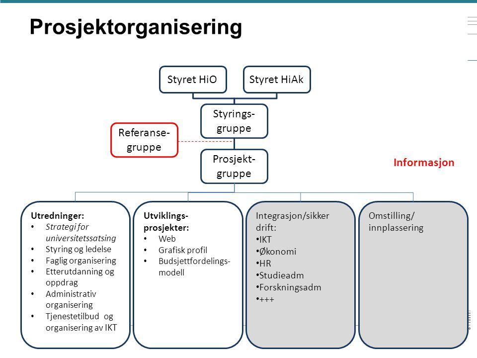 Prosjektorganisering Styret HiOStyret HiAk Styrings- gruppe Prosjekt- gruppe Utredninger: • Strategi for universitetssatsing • Styring og ledelse • Fa