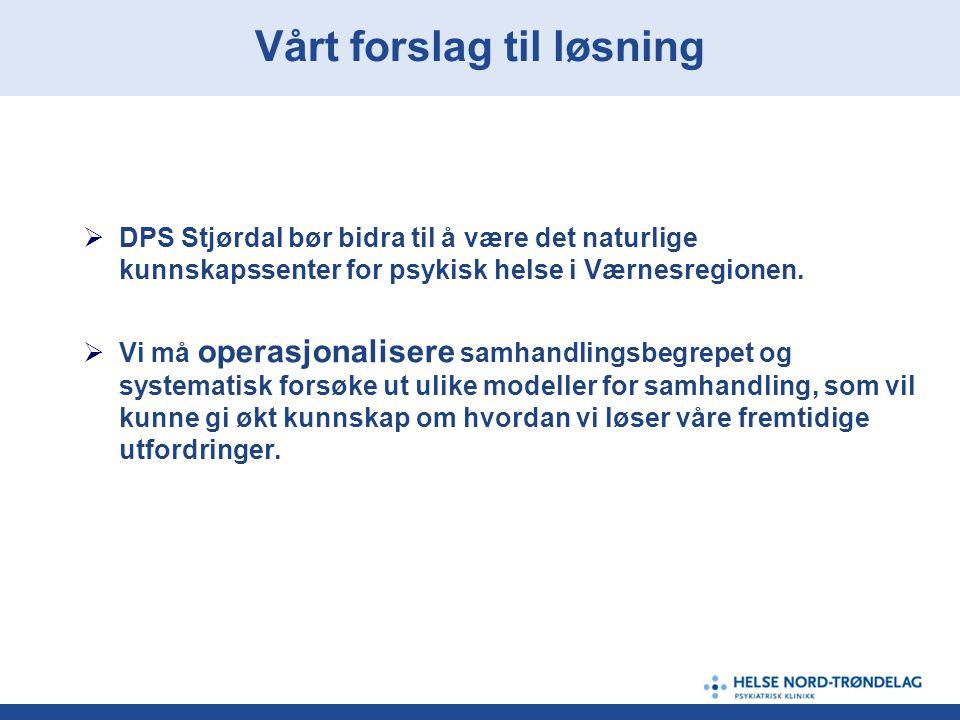  DPS Stjørdal bør bidra til å være det naturlige kunnskapssenter for psykisk helse i Værnesregionen.