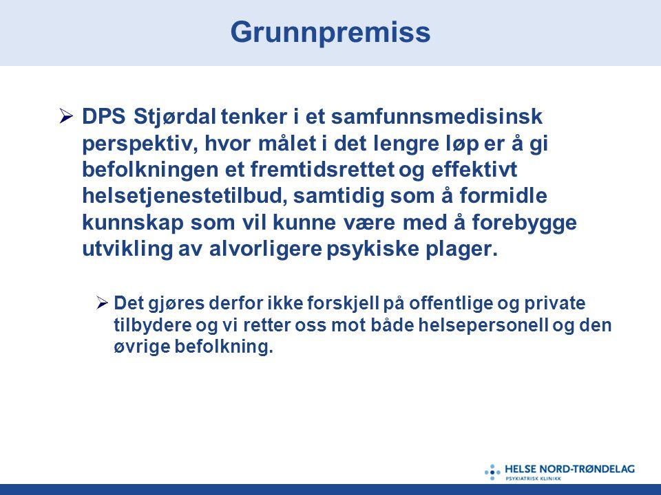  DPS Stjørdal tenker i et samfunnsmedisinsk perspektiv, hvor målet i det lengre løp er å gi befolkningen et fremtidsrettet og effektivt helsetjenestetilbud, samtidig som å formidle kunnskap som vil kunne være med å forebygge utvikling av alvorligere psykiske plager.