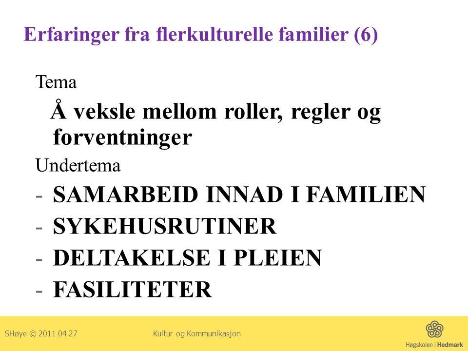 Erfaringer fra flerkulturelle familier (6) Tema Å veksle mellom roller, regler og forventninger Undertema -SAMARBEID INNAD I FAMILIEN -SYKEHUSRUTINER