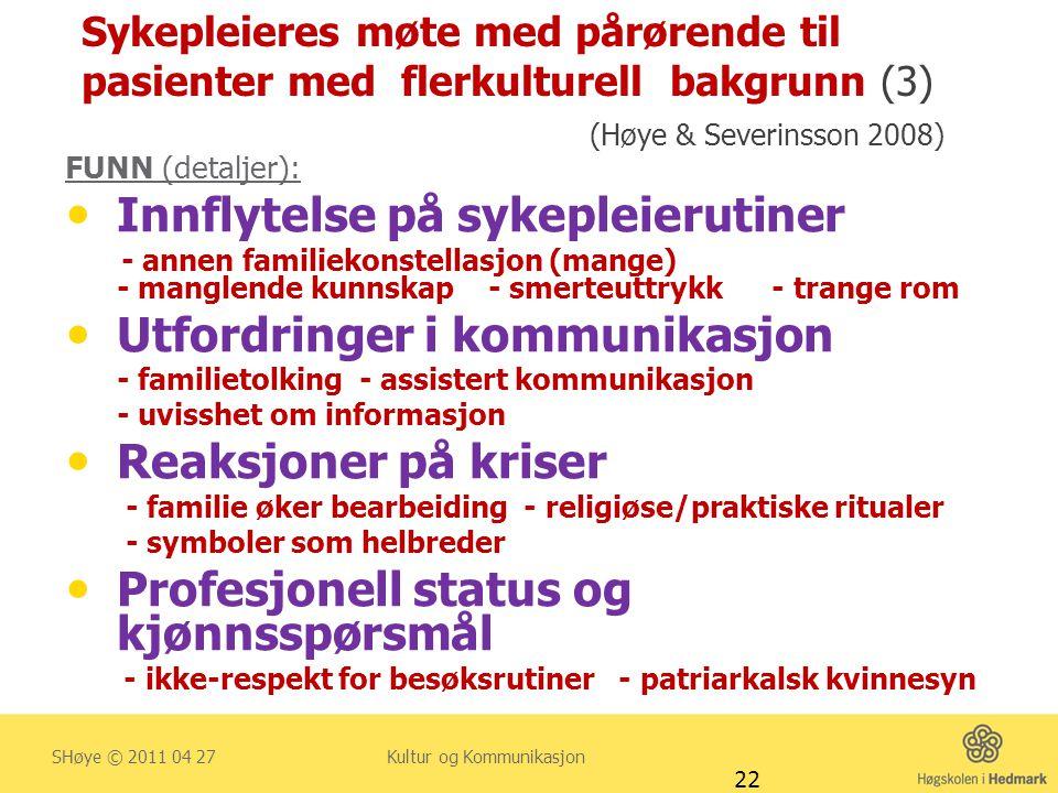 Sykepleieres møte med pårørende til pasienter med flerkulturell bakgrunn (3) (Høye & Severinsson 2008) FUNN (detaljer):  Innflytelse på sykepleieruti