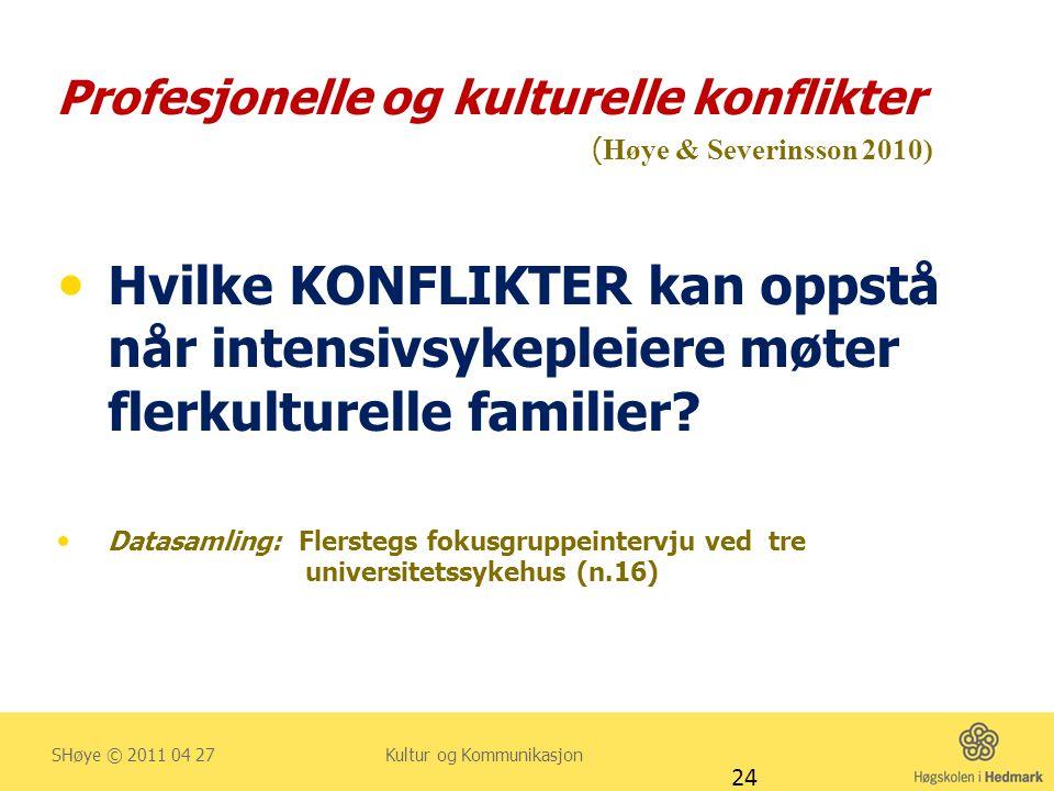 Profesjonelle og kulturelle konflikter ( Høye & Severinsson 2010)  Hvilke KONFLIKTER kan oppstå når intensivsykepleiere møter flerkulturelle familier