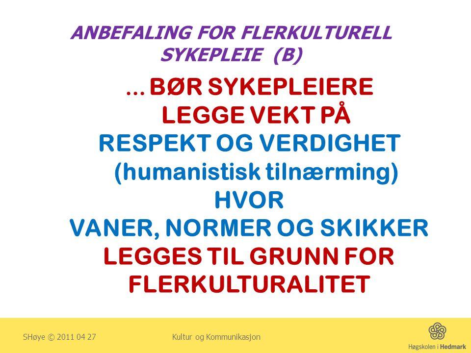 ANBEFALING FOR FLERKULTURELL SYKEPLEIE (B) SHøye © 2011 04 27 Kultur og Kommunikasjon … BØR SYKEPLEIERE LEGGE VEKT PÅ RESPEKT OG VERDIGHET (humanistis