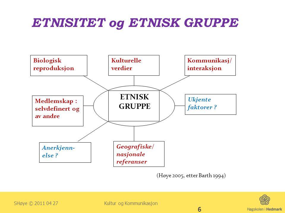 ETNISITET og ETNISK GRUPPE SHøye © 2011 04 27 Kultur og Kommunikasjon 6 ETNISK GRUPPE Anerkjenn- else ? SelvforstSelvåelse ? Geografiske/ nasjonale re
