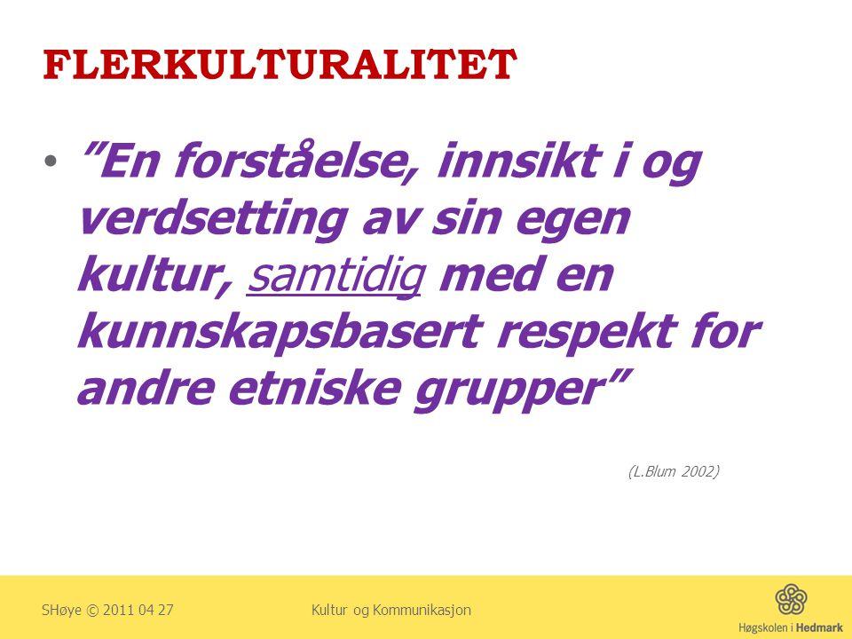 ANBEFALING FOR FLERKULTURELL SYKEPLEIE (B) SHøye © 2011 04 27 Kultur og Kommunikasjon … BØR SYKEPLEIERE LEGGE VEKT PÅ RESPEKT OG VERDIGHET (humanistisk tilnærming) HVOR VANER, NORMER OG SKIKKER LEGGES TIL GRUNN FOR FLERKULTURALITET