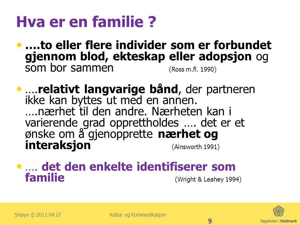 Hva er en familie ?  ….to eller flere individer som er forbundet gjennom blod, ekteskap eller adopsjon og som bor sammen (Ross m.fl. 1990)  ….relati
