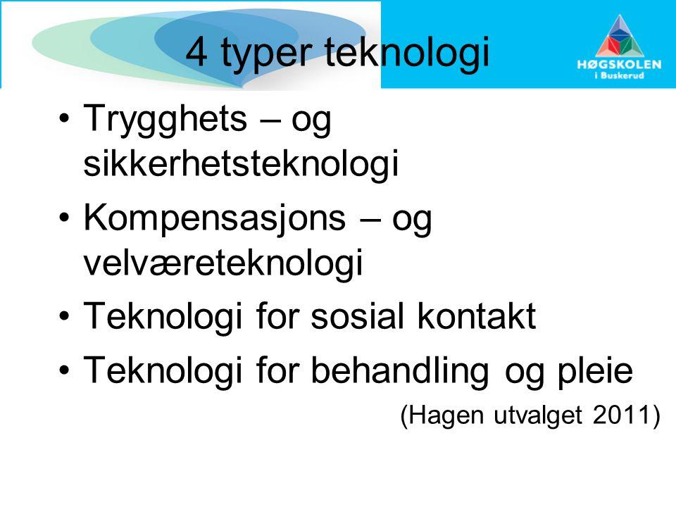 4 typer teknologi •Trygghets – og sikkerhetsteknologi •Kompensasjons – og velværeteknologi •Teknologi for sosial kontakt •Teknologi for behandling og