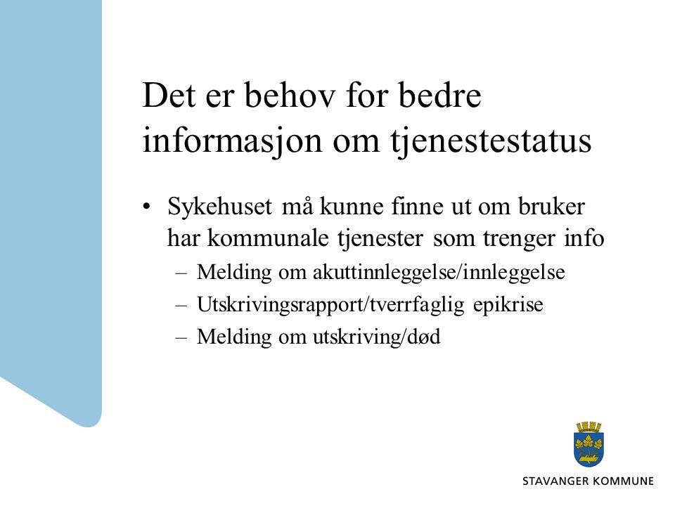 Det er behov for bedre informasjon om tjenestestatus •Sykehuset må kunne finne ut om bruker har kommunale tjenester som trenger info –Melding om akutt