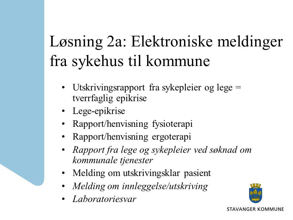 Løsning 2a: Elektroniske meldinger fra sykehus til kommune •Utskrivingsrapport fra sykepleier og lege = tverrfaglig epikrise •Lege-epikrise •Rapport/h