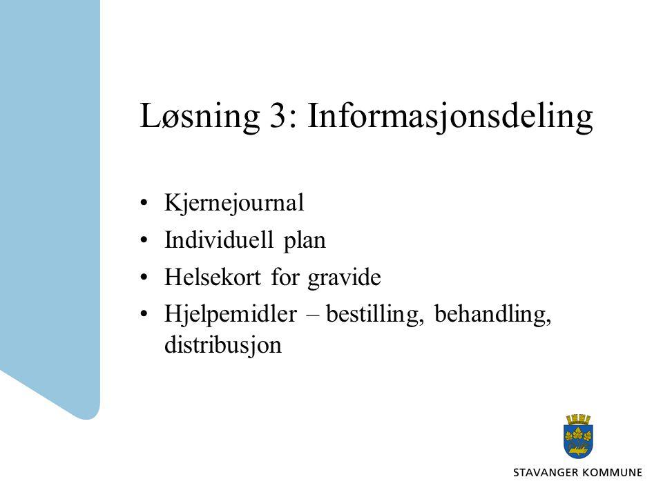 Løsning 3: Informasjonsdeling •Kjernejournal •Individuell plan •Helsekort for gravide •Hjelpemidler – bestilling, behandling, distribusjon