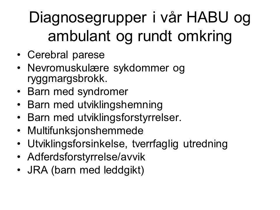 Diagnosegrupper i vår HABU og ambulant og rundt omkring •Cerebral parese •Nevromuskulære sykdommer og ryggmargsbrokk. •Barn med syndromer •Barn med ut