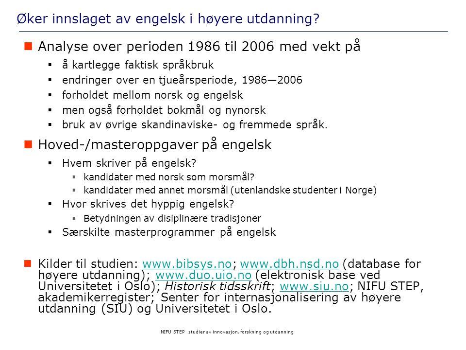 NIFU STEP studier av innovasjon, forskning og utdanning Øker innslaget av engelsk i høyere utdanning?  Analyse over perioden 1986 til 2006 med vekt p