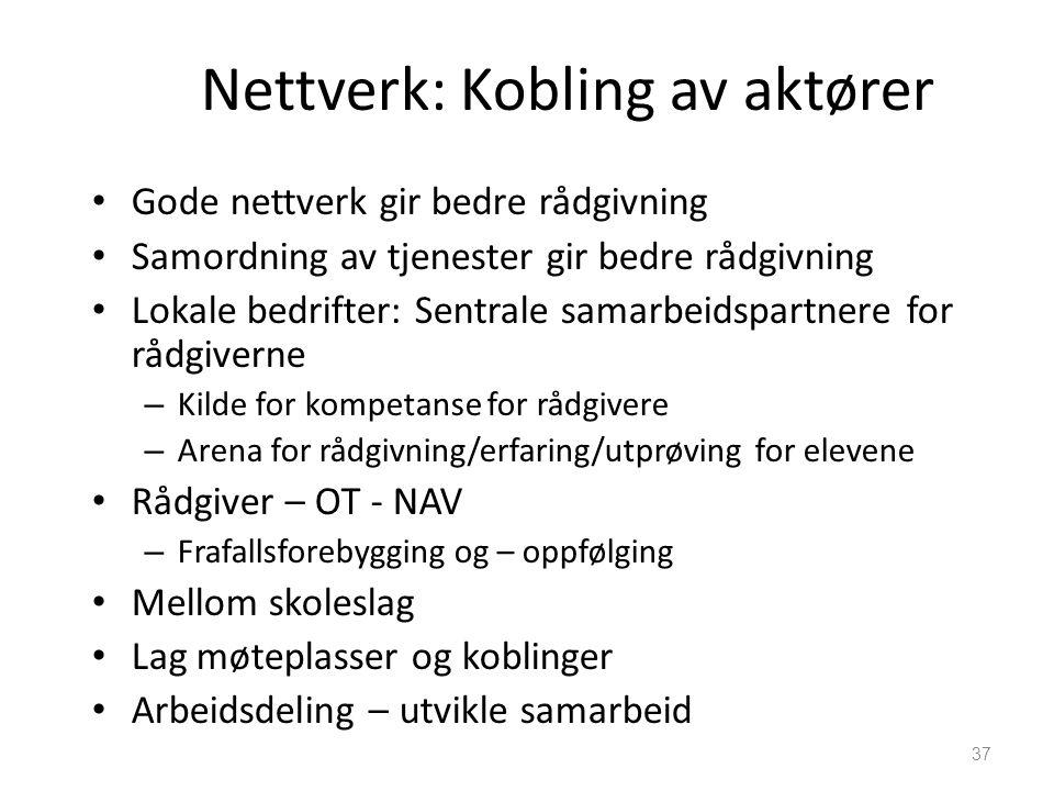 37 Nettverk: Kobling av aktører • Gode nettverk gir bedre rådgivning • Samordning av tjenester gir bedre rådgivning • Lokale bedrifter: Sentrale samar