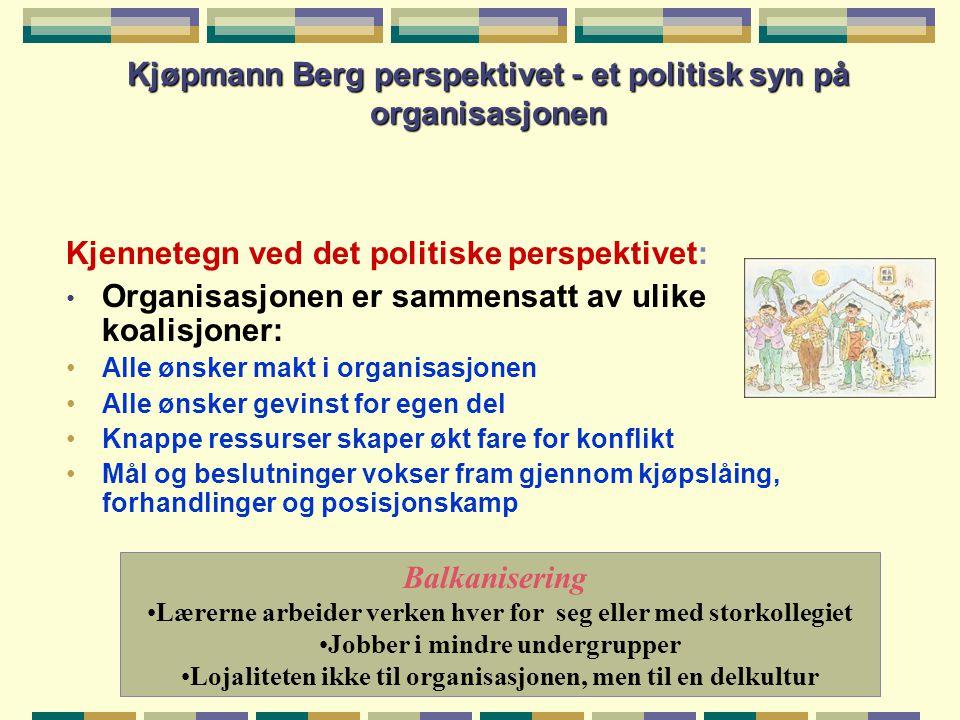 Kjøpmann Berg perspektivet - et politisk syn på organisasjonen Kjennetegn ved det politiske perspektivet: • Organisasjonen er sammensatt av ulike koal