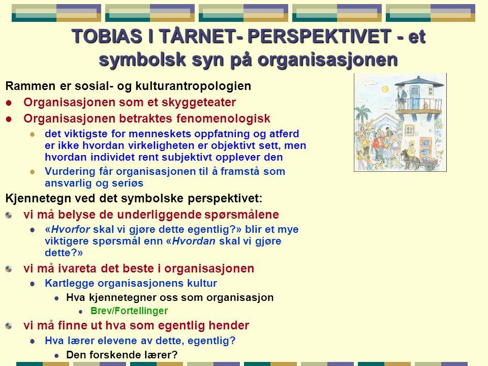 TOBIAS I TÅRNET- PERSPEKTIVET - et symbolsk syn på organisasjonen Rammen er sosial- og kulturantropologien l Organisasjonen som et skyggeteater l Orga
