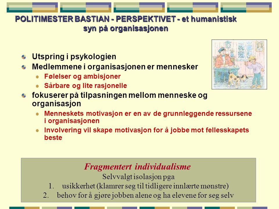 POLITIMESTER BASTIAN - PERSPEKTIVET - et humanistisk syn på organisasjonen Utspring i psykologien Medlemmene i organisasjonen er mennesker  Følelser og ambisjoner  Sårbare og lite rasjonelle fokuserer på tilpasningen mellom menneske og organisasjon  Menneskets motivasjon er en av de grunnleggende ressursene i organisasjonen  Involvering vil skape motivasjon for å jobbe mot fellesskapets beste Fragmentert individualisme Selvvalgt isolasjon pga 1.usikkerhet (klamrer seg til tidligere innlærte mønstre) 2.behov for å gjøre jobben alene og ha elevene for seg selv