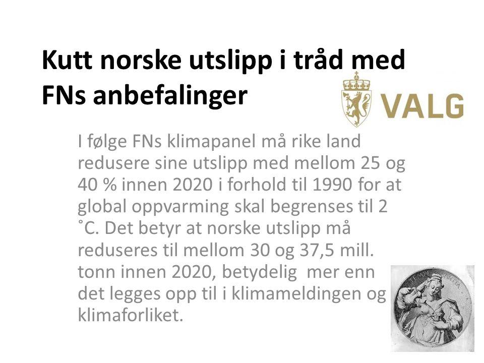 Kutt norske utslipp i tråd med FNs anbefalinger I følge FNs klimapanel må rike land redusere sine utslipp med mellom 25 og 40 % innen 2020 i forhold til 1990 for at global oppvarming skal begrenses til 2 ˚C.