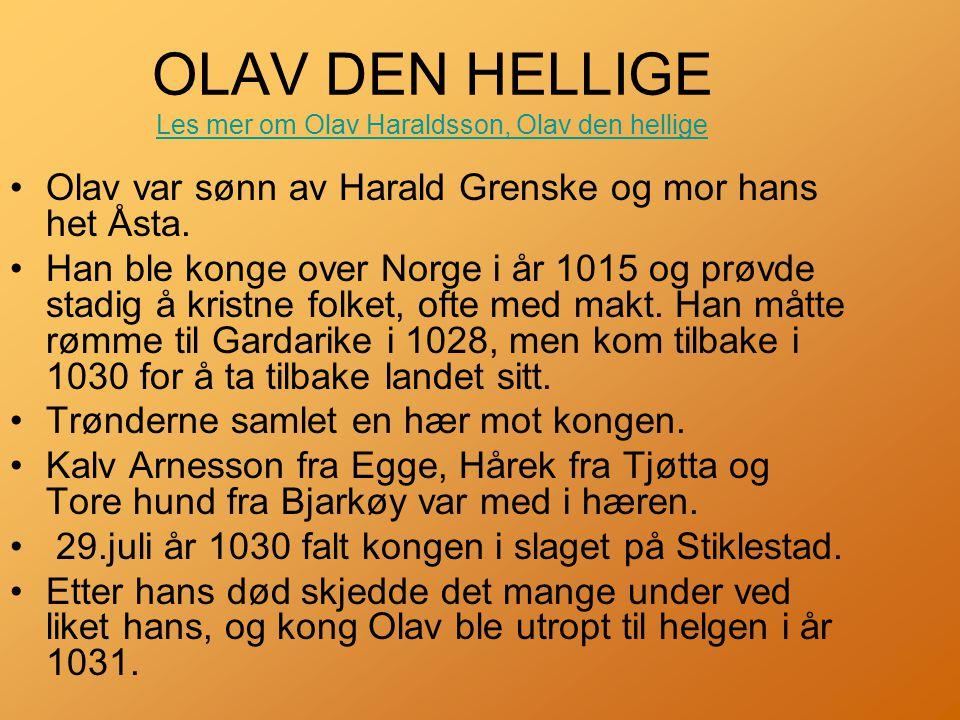 OLAV DEN HELLIGE Les mer om Olav Haraldsson, Olav den hellige Les mer om Olav Haraldsson, Olav den hellige •Olav var sønn av Harald Grenske og mor hans het Åsta.