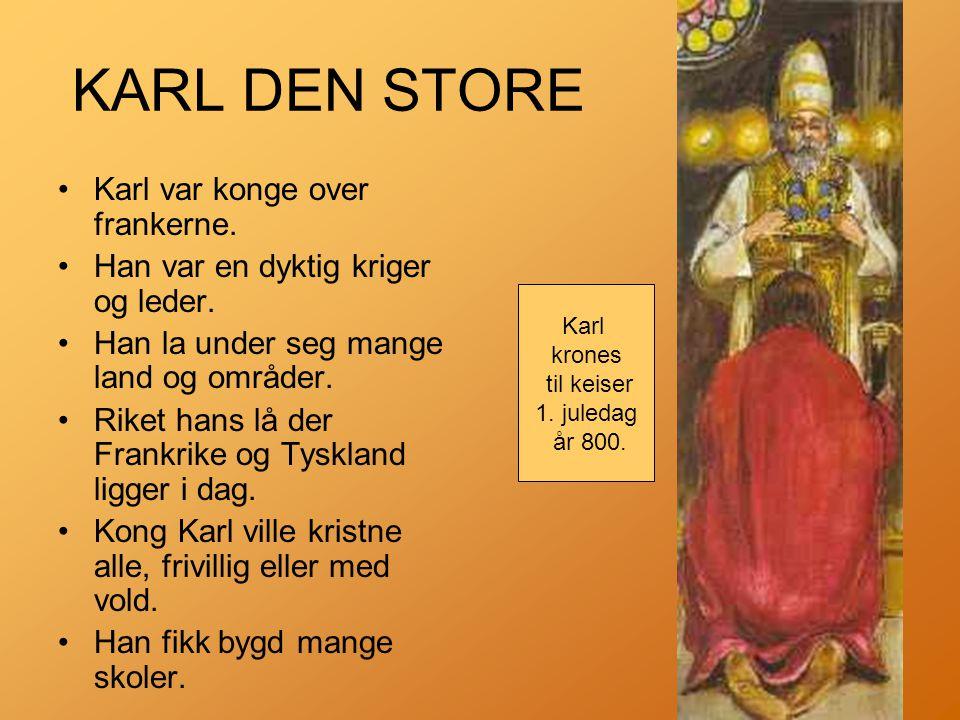KARL DEN STORE •Karl var konge over frankerne.•Han var en dyktig kriger og leder.