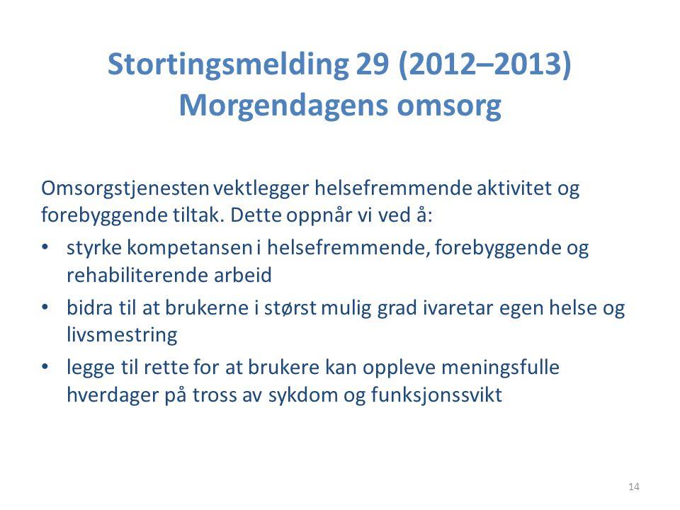 Stortingsmelding 29 (2012–2013) Morgendagens omsorg Omsorgstjenesten vektlegger helsefremmende aktivitet og forebyggende tiltak. Dette oppnår vi ved å