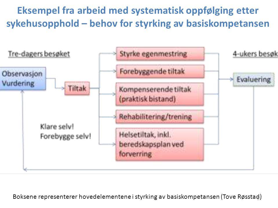 Eksempel fra arbeid med systematisk oppfølging etter sykehusopphold – behov for styrking av basiskompetansen Boksene representerer hovedelementene i s