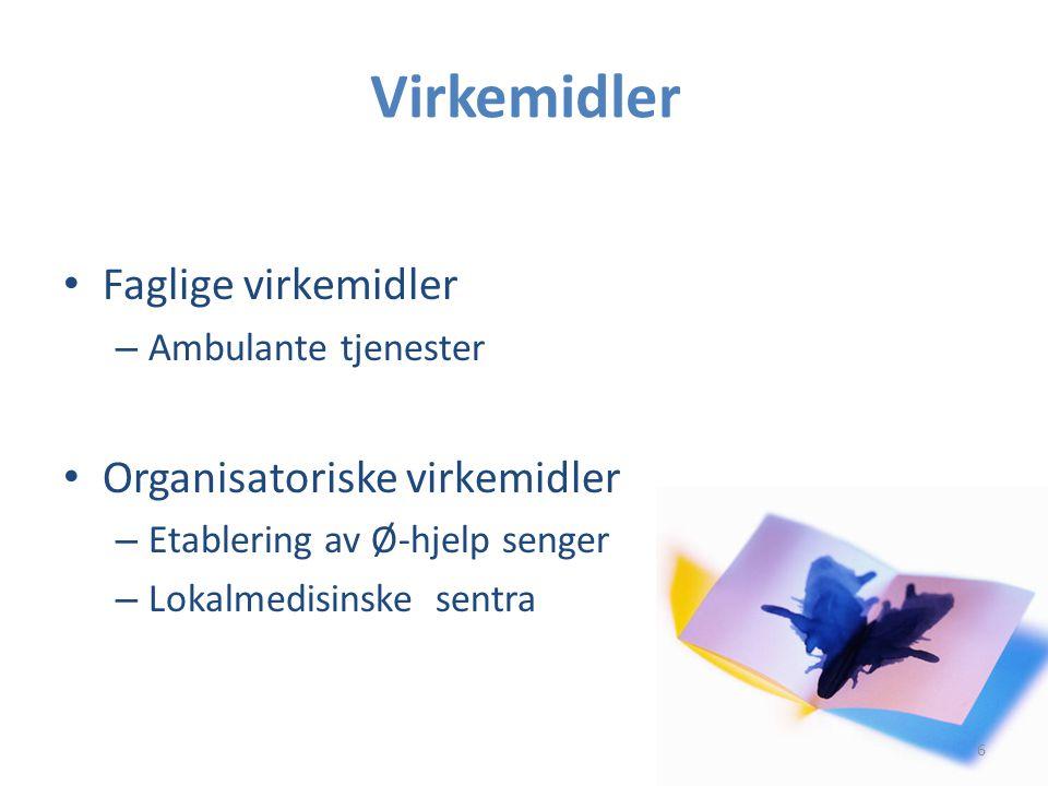 Virkemidler • Faglige virkemidler – Ambulante tjenester • Organisatoriske virkemidler – Etablering av Ø-hjelp senger – Lokalmedisinske sentra 6