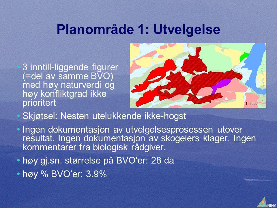 Planområde 1: Utvelgelse • 3 inntill-liggende figurer (=del av samme BVO) med høy naturverdi og høy konfliktgrad ikke prioritert • Skjøtsel: Nesten ut