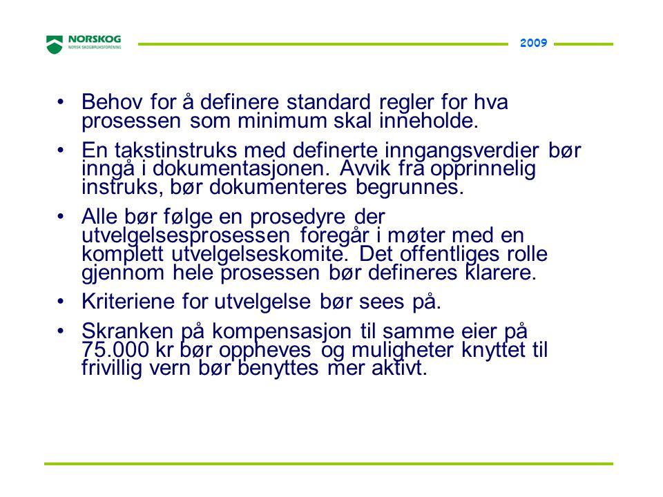 2009 •Behov for å definere standard regler for hva prosessen som minimum skal inneholde. •En takstinstruks med definerte inngangsverdier bør inngå i d