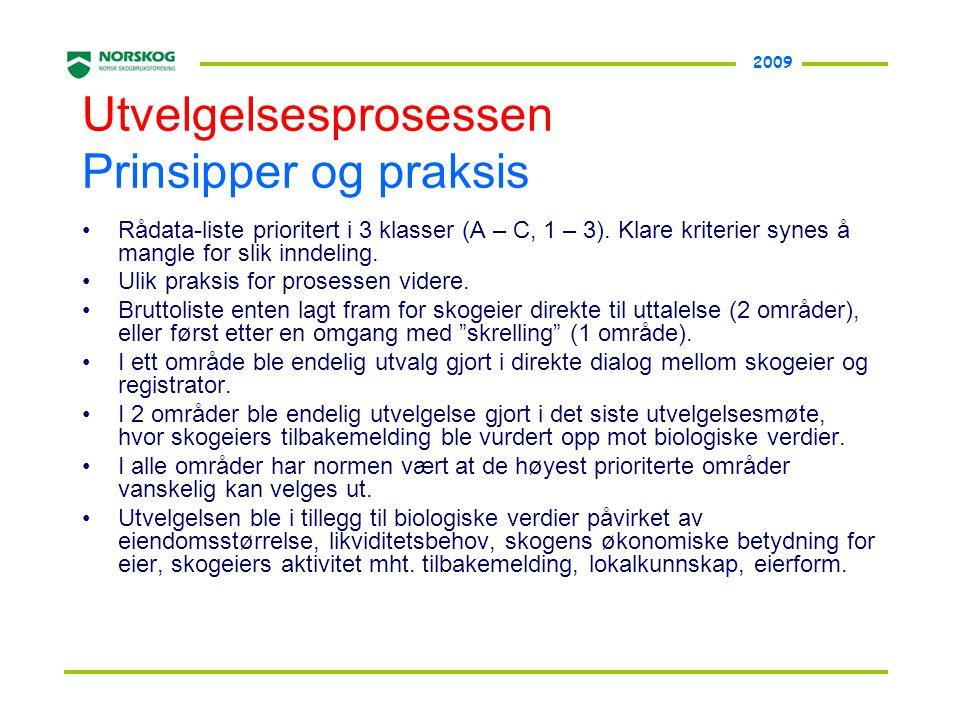 2009 Utvelgelsesprosessen Prinsipper og praksis •Rådata-liste prioritert i 3 klasser (A – C, 1 – 3). Klare kriterier synes å mangle for slik inndeling