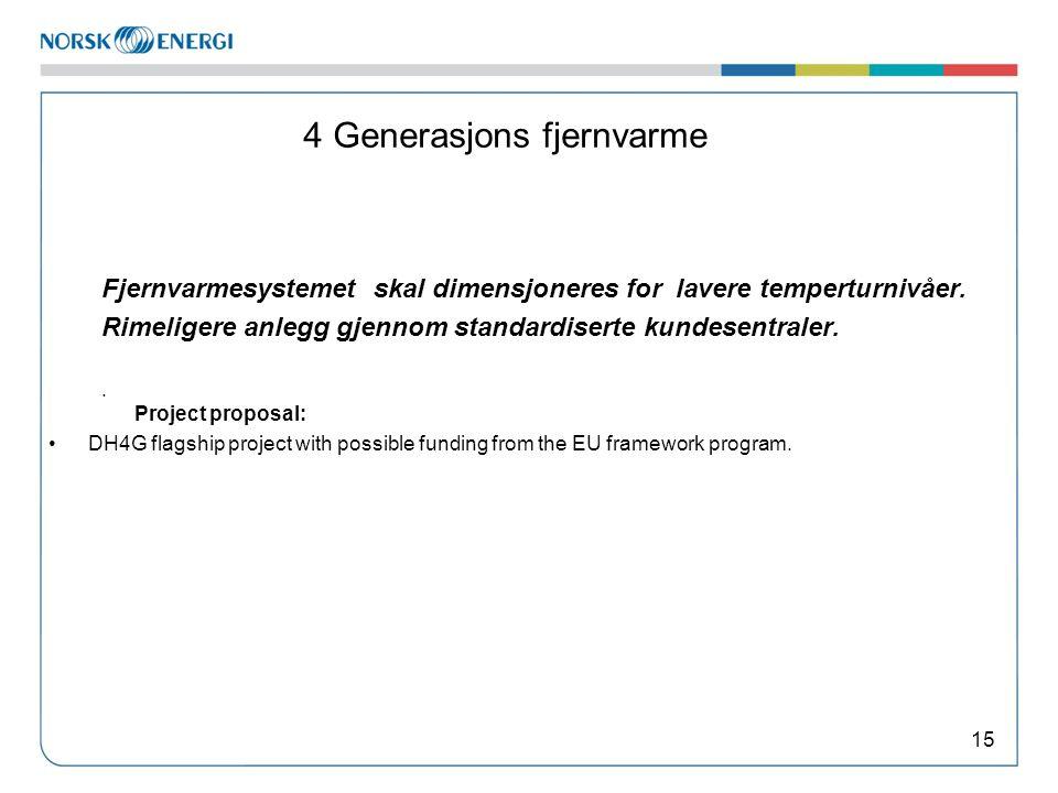 4 Generasjons fjernvarme Fjernvarmesystemet skal dimensjoneres for lavere temperturnivåer.