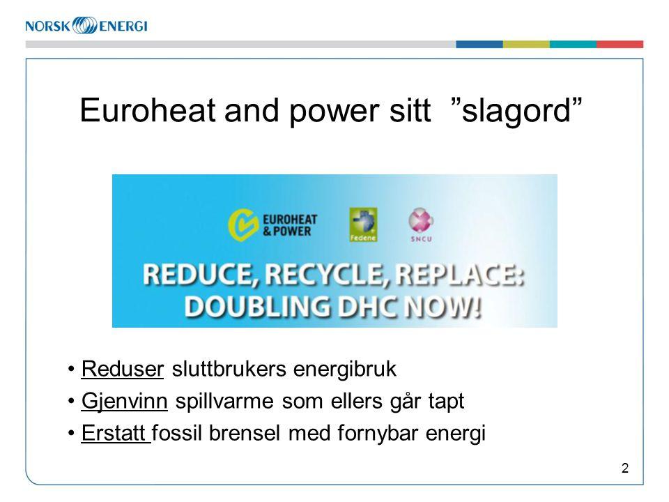 Euroheat and power sitt slagord 2 • Reduser sluttbrukers energibruk • Gjenvinn spillvarme som ellers går tapt • Erstatt fossil brensel med fornybar energi
