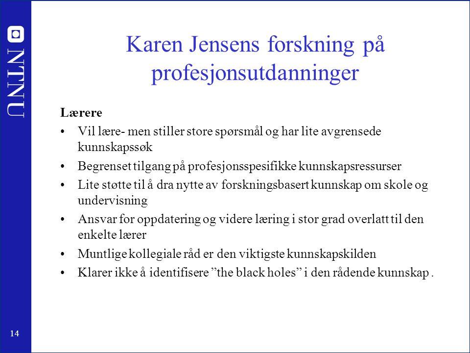 14 Karen Jensens forskning på profesjonsutdanninger Lærere •Vil lære- men stiller store spørsmål og har lite avgrensede kunnskapssøk •Begrenset tilgan