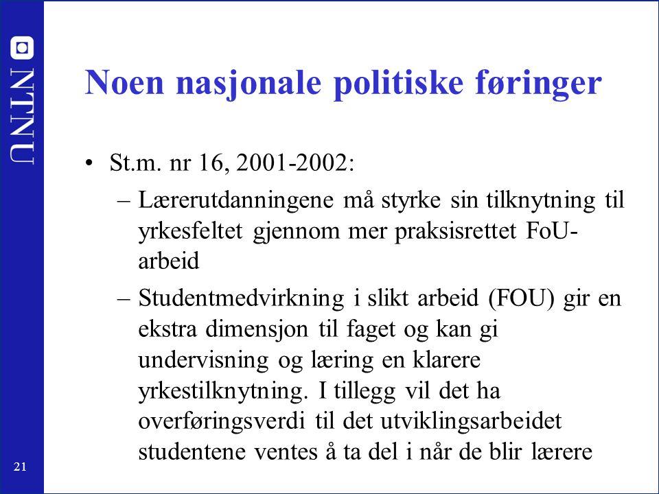21 Noen nasjonale politiske føringer •St.m. nr 16, 2001-2002: –Lærerutdanningene må styrke sin tilknytning til yrkesfeltet gjennom mer praksisrettet F