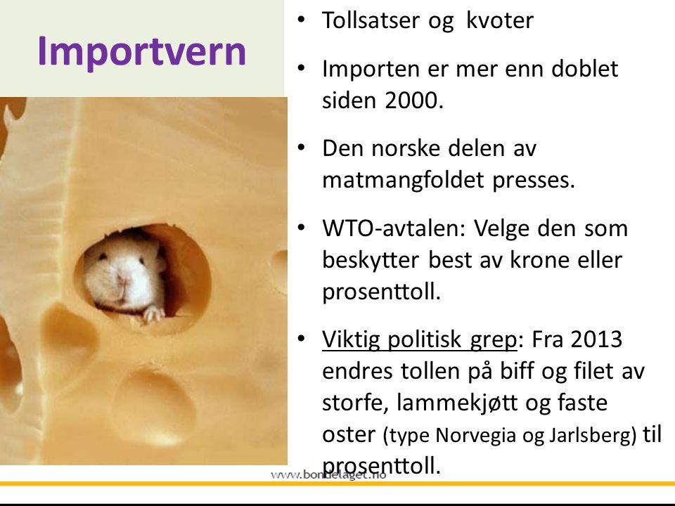 Importvern • Tollsatser og kvoter • Importen er mer enn doblet siden 2000. • Den norske delen av matmangfoldet presses. • WTO-avtalen: Velge den som b