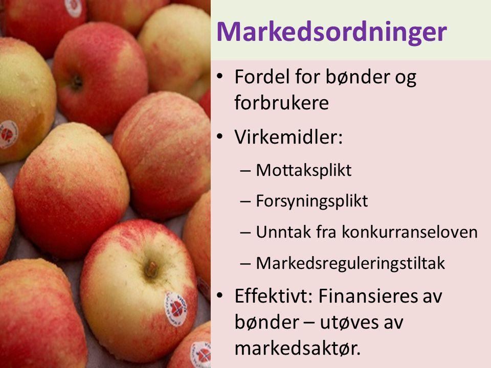 Markedsordninger • Fordel for bønder og forbrukere • Virkemidler: – Mottaksplikt – Forsyningsplikt – Unntak fra konkurranseloven – Markedsreguleringst