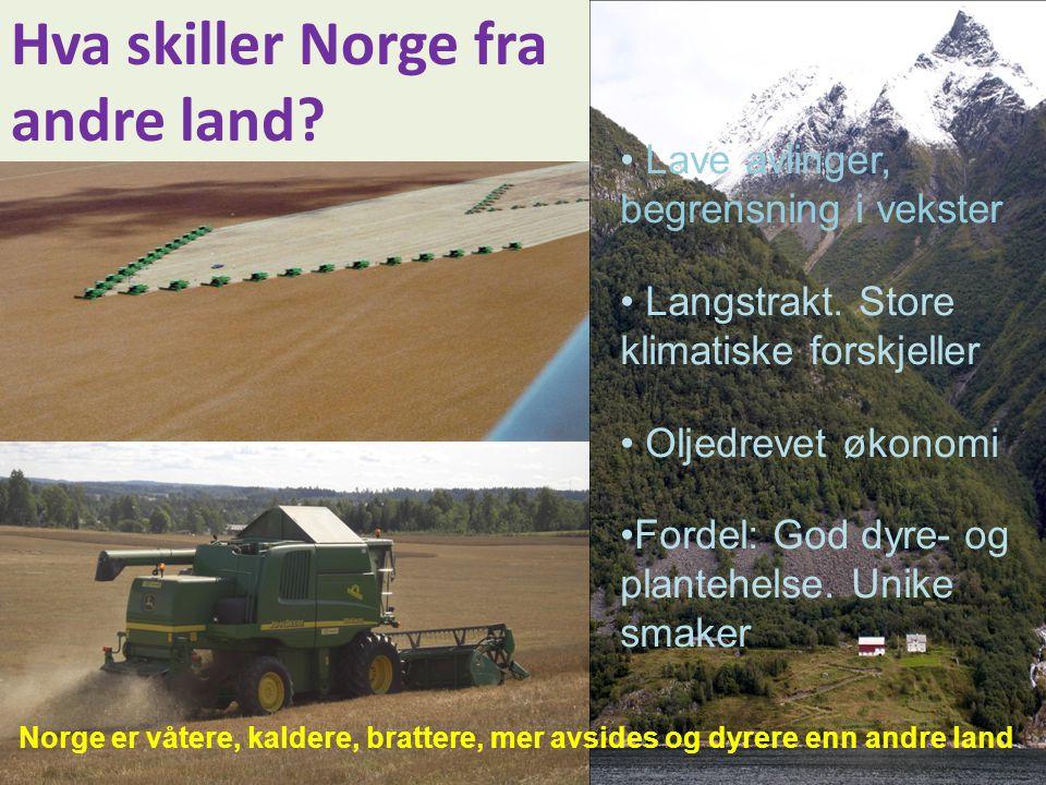 Hva skiller Norge fra andre land? • Lave avlinger, begrensning i vekster • Langstrakt. Store klimatiske forskjeller • Oljedrevet økonomi •Fordel: God
