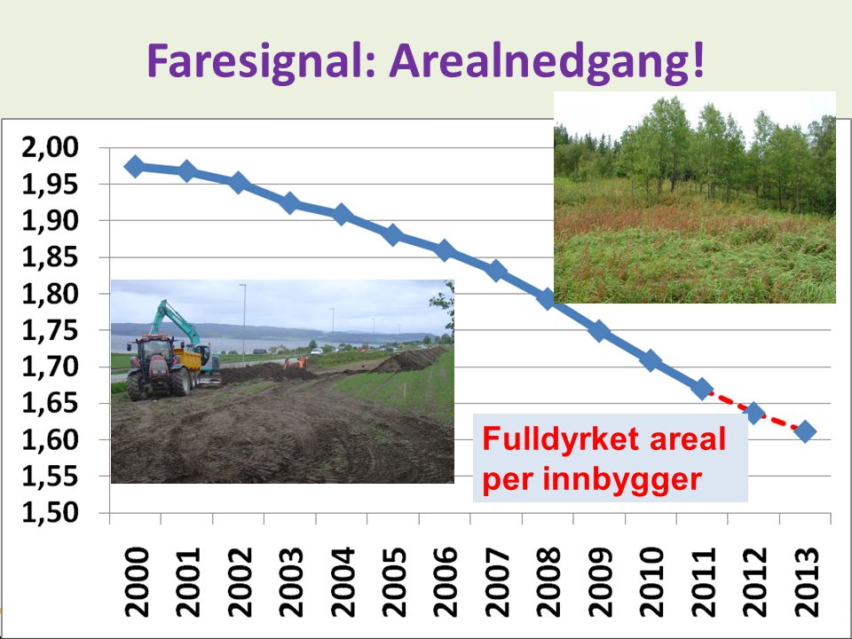Faresignal: Arealnedgang! Fulldyrket areal per innbygger