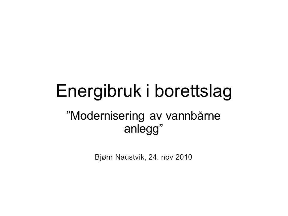 Energibruk i borettslag Modernisering av vannbårne anlegg Bjørn Naustvik, 24. nov 2010